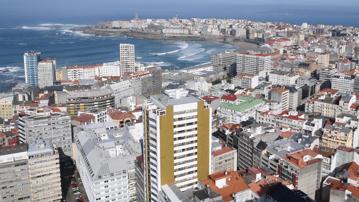 Vista aérea de la ciudad de A Coruña.