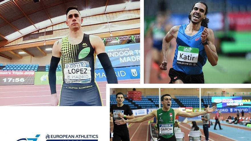 Katir, Mariano García y Sergio López, en el Europeo en pista