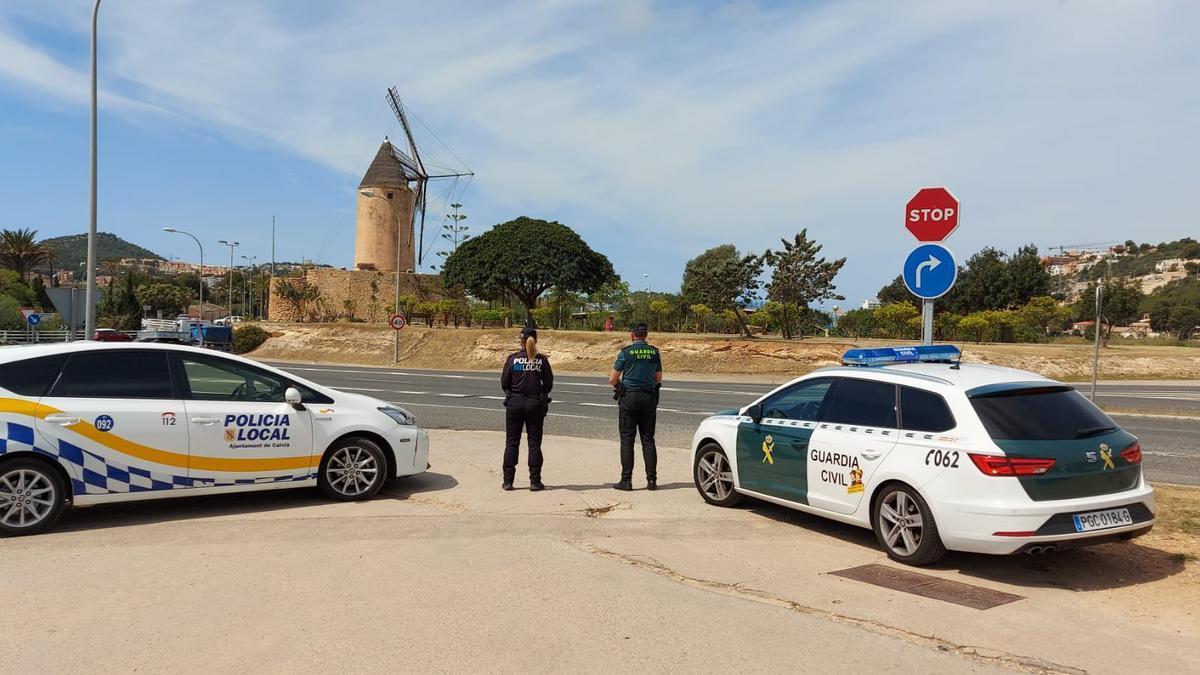 Control de la Policía Local y la Guardia Civil en Calvià.