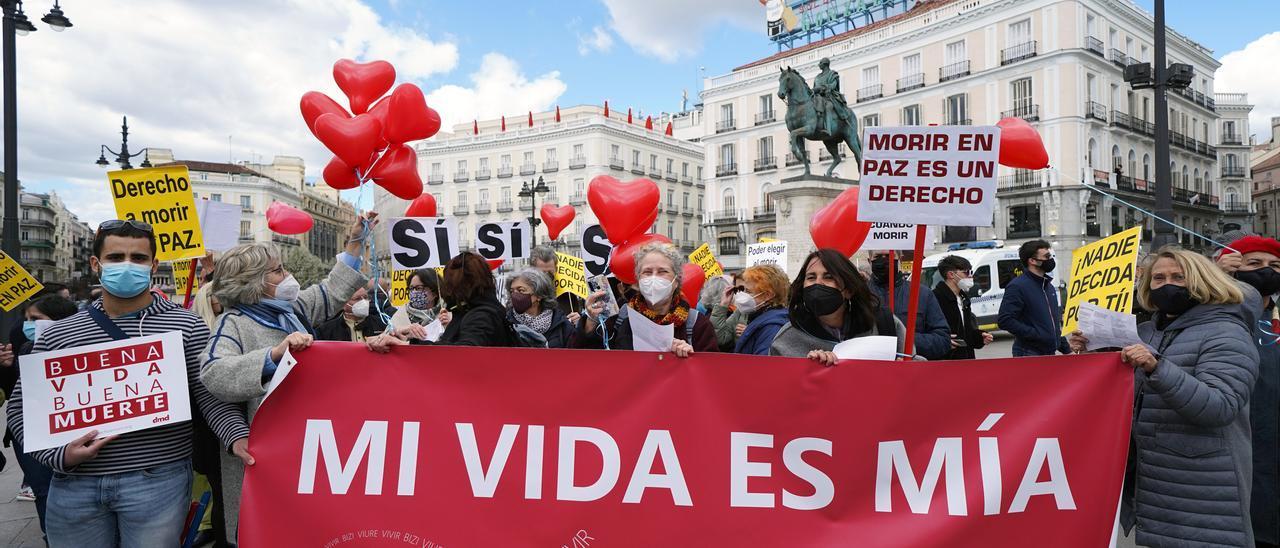 Manifestación a favor de la eutanasia