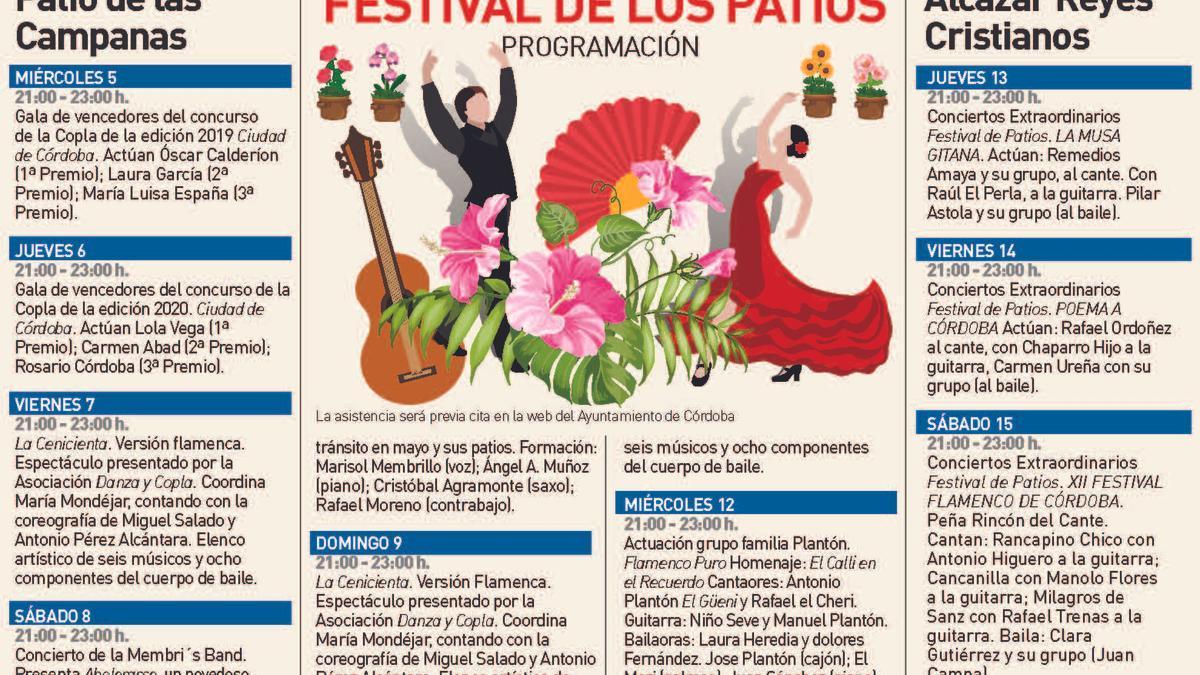 Programación de espectáculos del Festival de los Patios de Córdoba 2021.