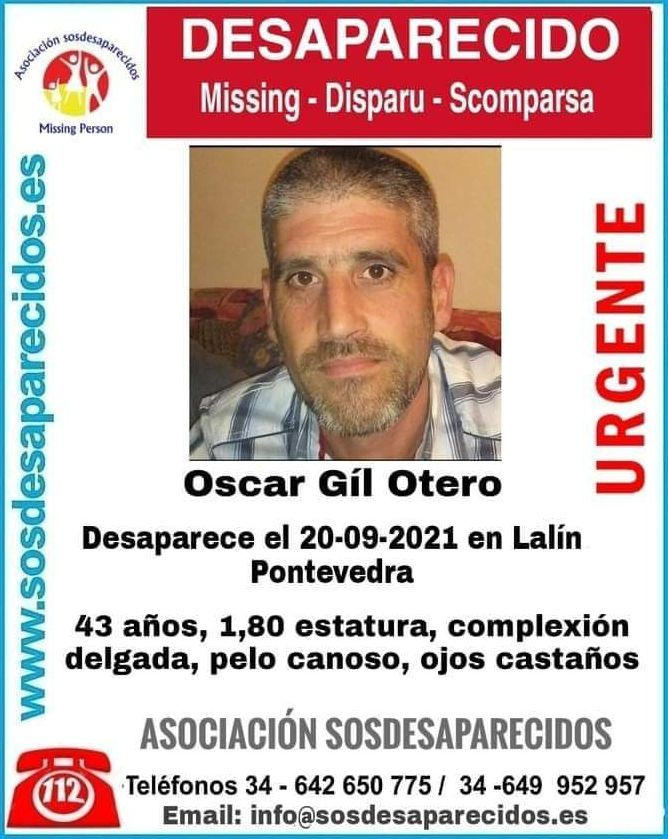 Cartel de SOS Desparecidos alertando de la desaparición de Óscar Gil