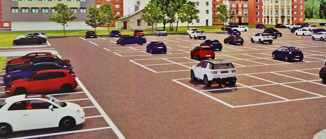Recreación virtual del aparcamiento que se habilitará frente al parque.