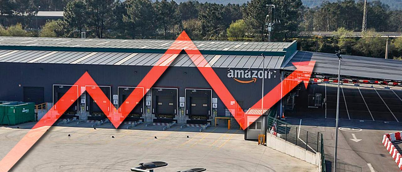 Vista del centro logístico de Amazon en Porriño.