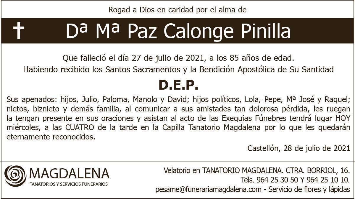 Dª Mª Paz Calonge Pinilla