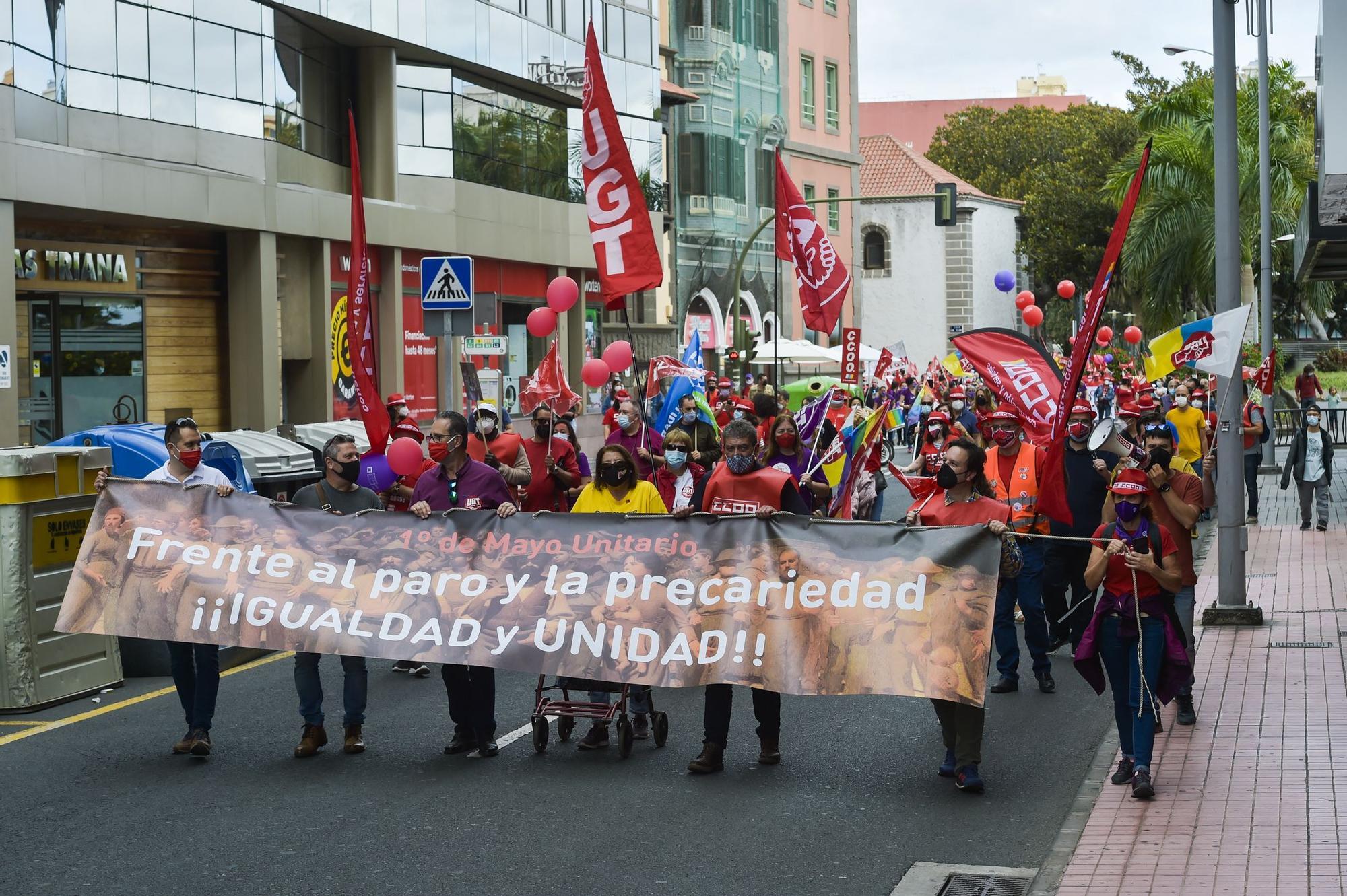 Manifestación del 1 de Mayo, Día de los Trabajadores, en Las Palmas de Gran Canaria (01/05/21)