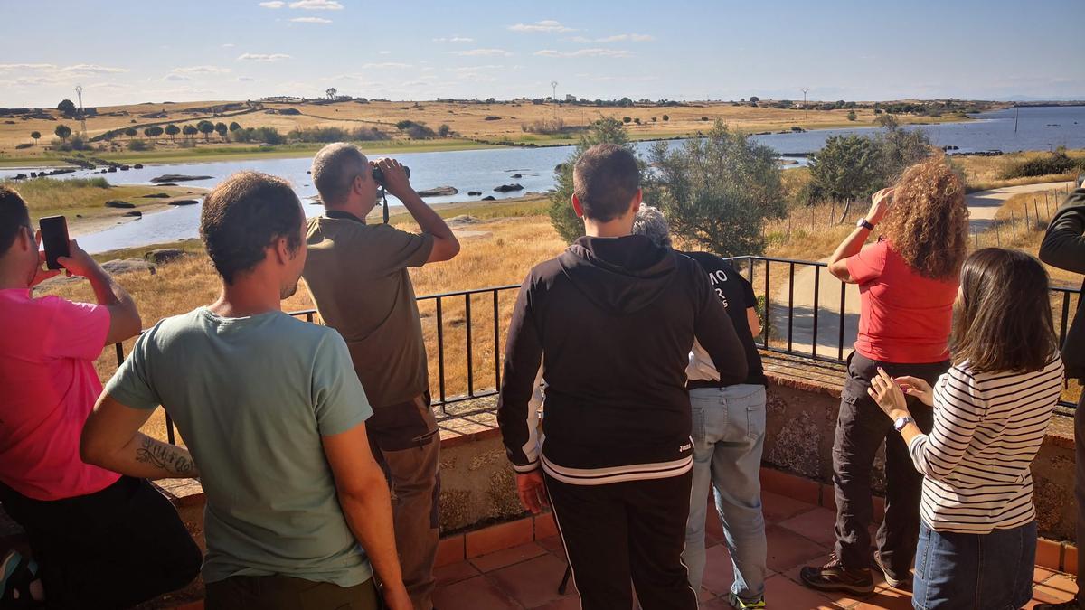 Observación. Un grupo de amantes del 'birwatching' en Casar de Cáceres.