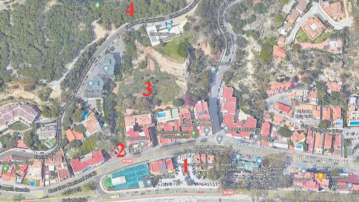 Vista aérea del proyecto de conexión: 1 (pastilla del lavacoches y el vivero), 2 (entrada actual a la parcela municipal), 3 (parcela municipal bajo el OMAU), 4 (Parque Forestal del Morlaco).