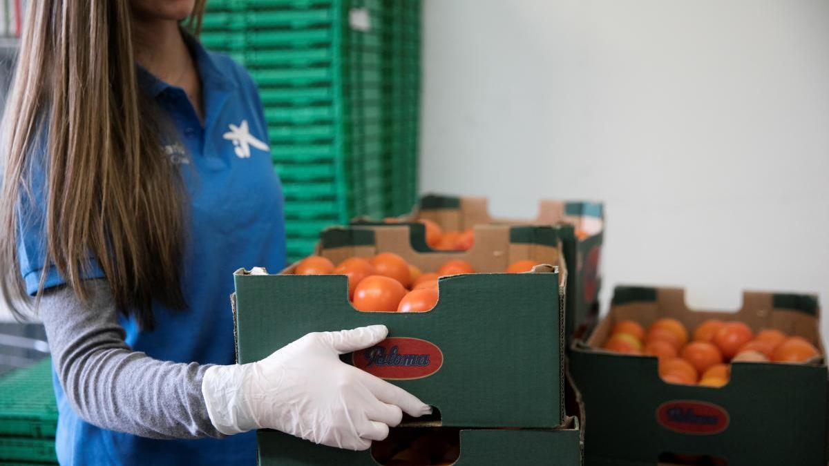 Campaña de la Caixa para los bancos de alimentos.      la caixa