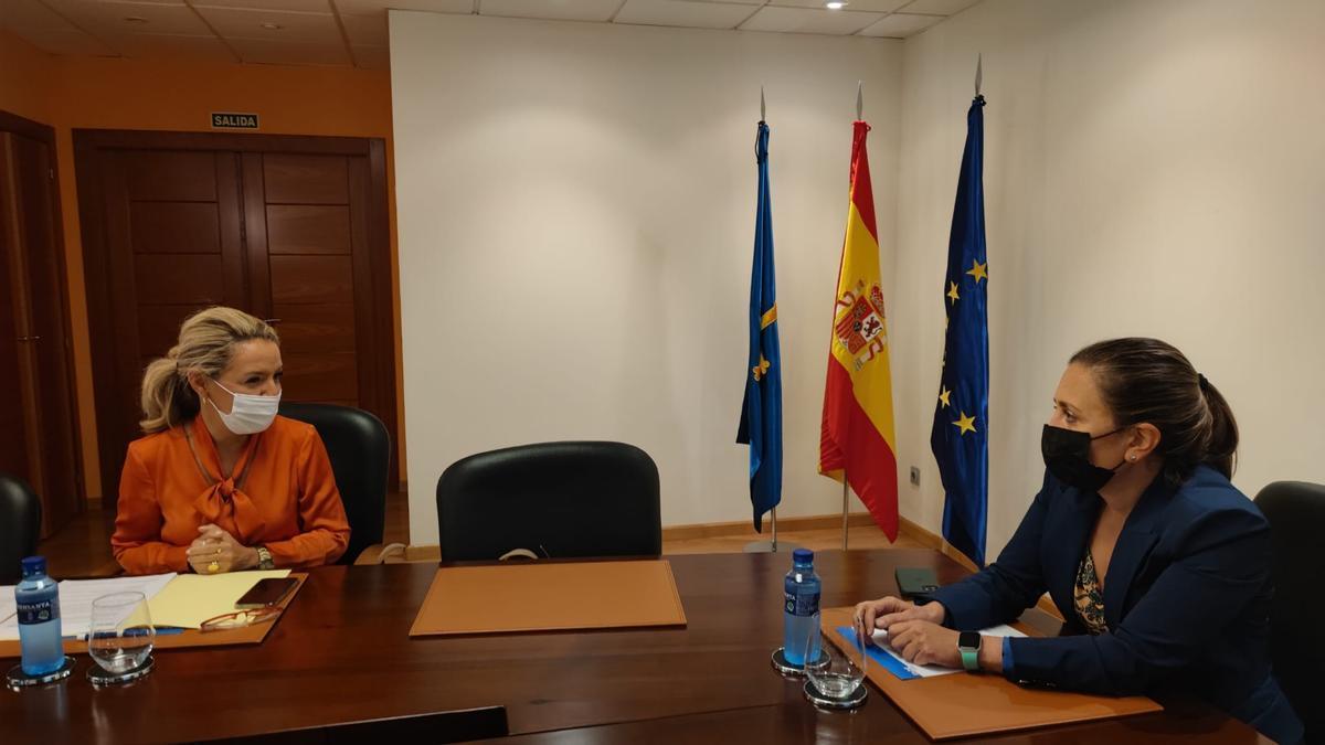 A la izquierda, Teresa Mallada (PP); a la derecha, María Calvo (FADE), anteayer, durante su reunión