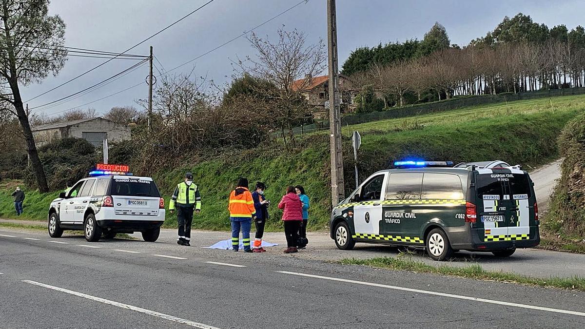 Camión accidentado ayer en la AG-53 a su paso por Lalín.     // BERNABÉ