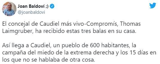 Tuit de Joan Baldoví mostrando su apoyo a su compañero de partido en Caudiel.