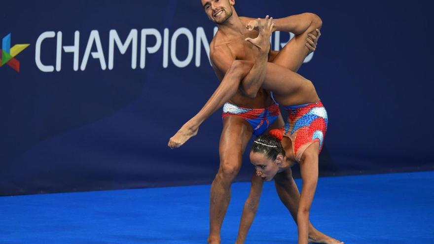 La sincronizada mixta, primera medalla española en el Europeo de natación