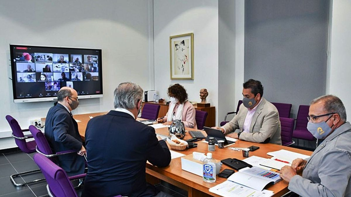 Pleno del Consejo Social celebrado por videoconferencia con la presencia del rector de la ULPGC, Lluís Serra.     LP/DLP