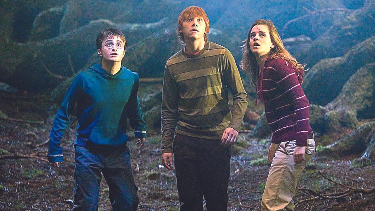 Harry, Ron y Hermione en una de las películas de la saga.