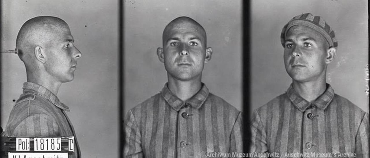 Fotografía del registro en Auschwitz. Amadeo tras la liberación del campo de Mauthausen (dcha.).