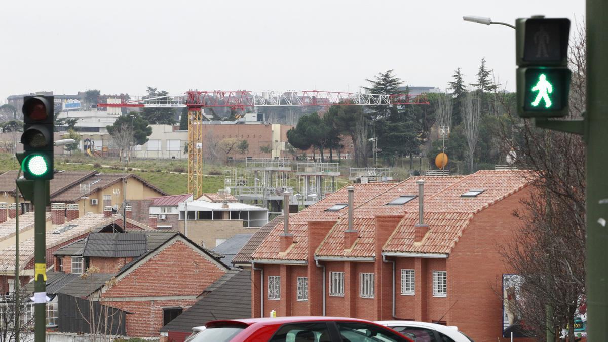 Obras de edificios en construcción.