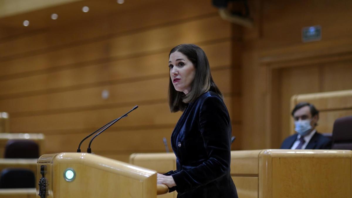 La Senadora de Ciudadanos Ruth Goñi interviene durante una sesión plenaria en el Senado.