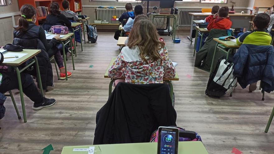 Un aula con medidor de CO2