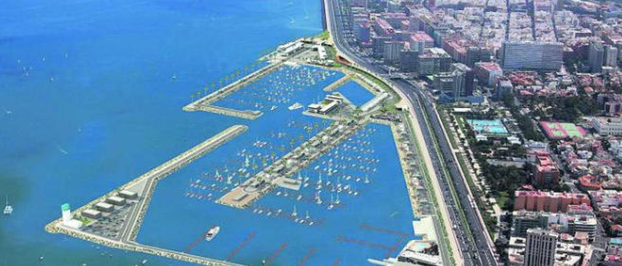 Recreación infográfica del proyecto de ampliación de la actual dársena de embarcaciones menores de Las Palmas de Gran Canaria.
