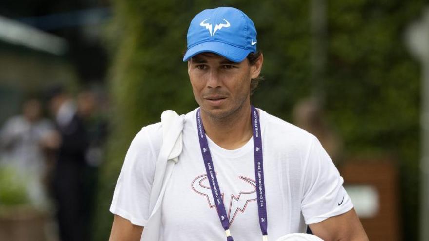 El tenista Rafa Nadal, en un entrenamiento de Wimbledon.