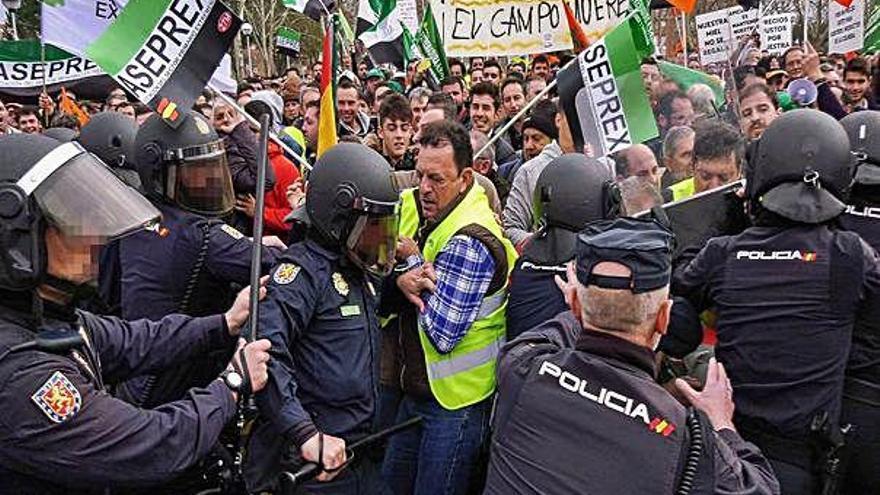 Quinze ferits en disturbis després d'una manifestació d'agricultors a Badajoz