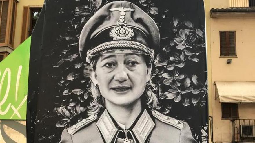 Aparecen carteles de Armengol vestida de nazi en la Rambla