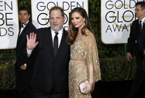 Harvey Weinstein and Georgina Chapman arrive at the 73rd Golden Globe Awards in Beverly Hills