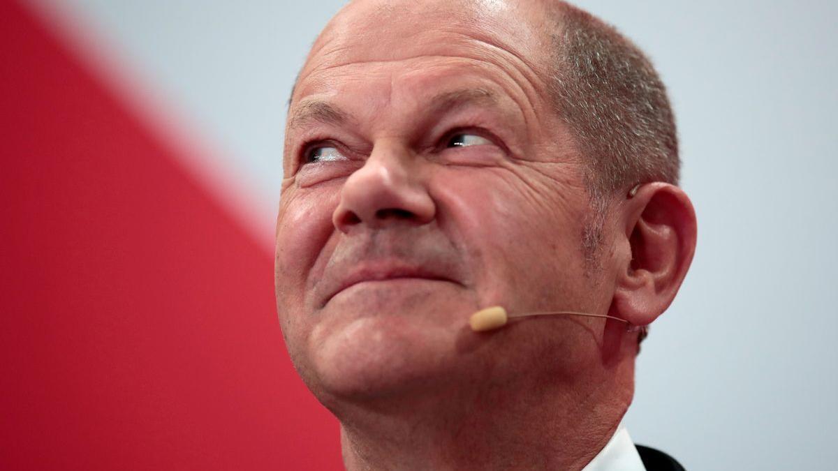 El candidato del SPD, Olaf Scholz, tras conocer el resultado de las elecciones.