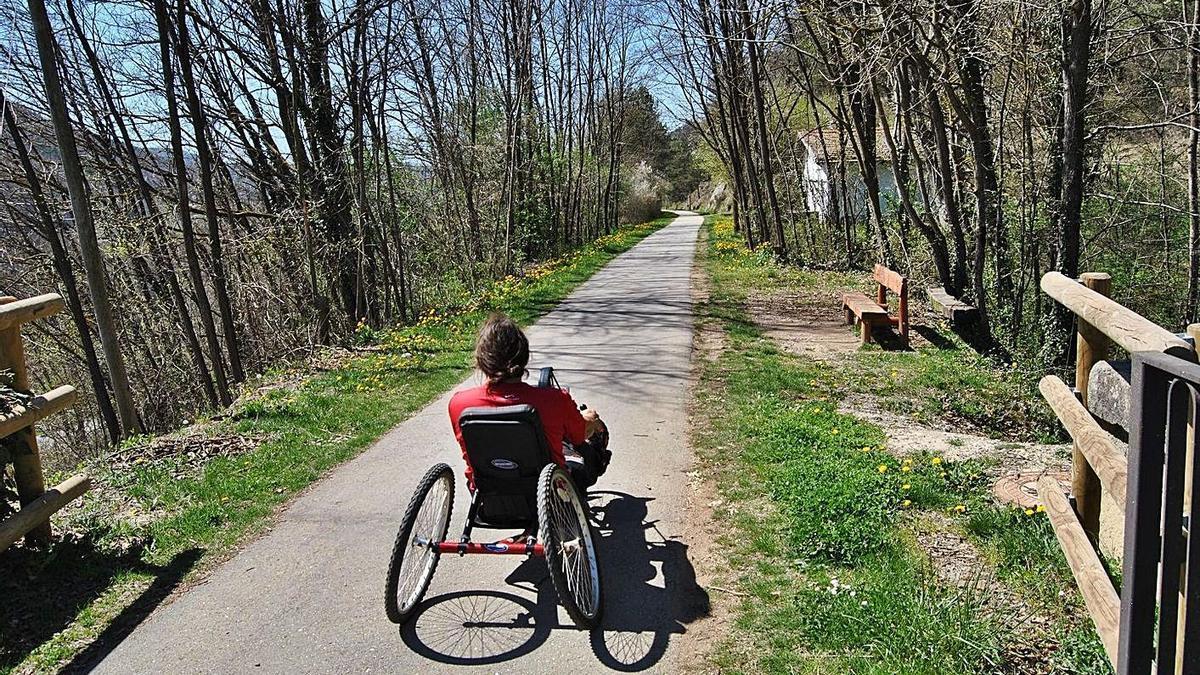 Un usuario en silla de ruedas, en una senda accesible.