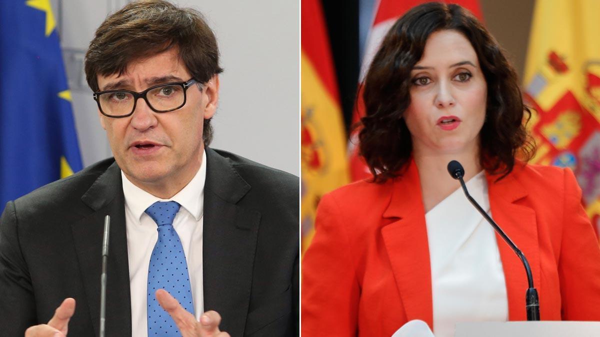 El ministro de Sanidad Salvador Illa y la presidenta de la Comunidad de Madrid Isabel Díaz Ayuso.