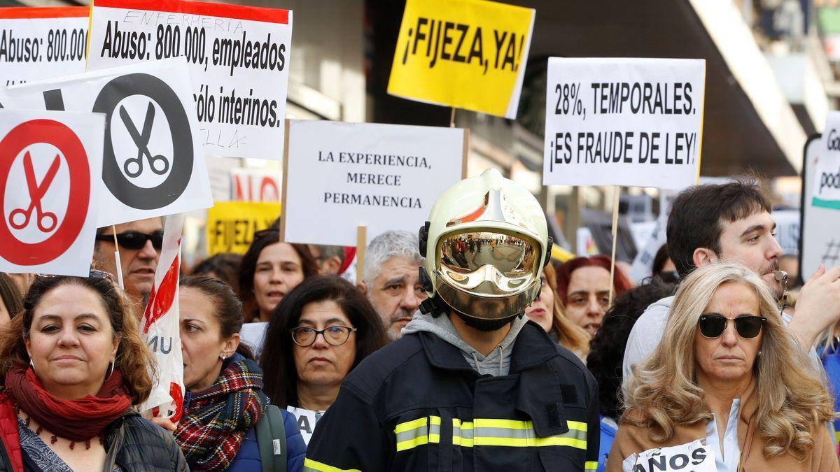 Manifestación de interinos contra el abuso de la temporalidad en la Administración, el 15 de febrero de 2020 en Madrid.