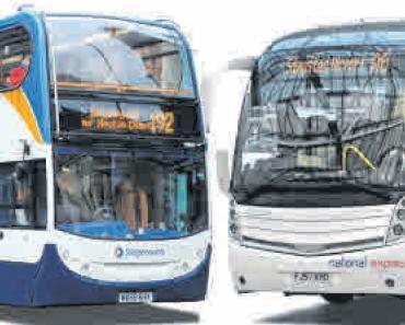Autobús urbano de Stagecoach (izquierda) y autocar de rutas de largo  recorrido de National Express.