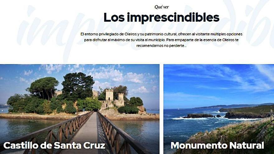 """Oleiros renueva su portal web de turismo e incluye un apartado de """"imprescindibles"""""""