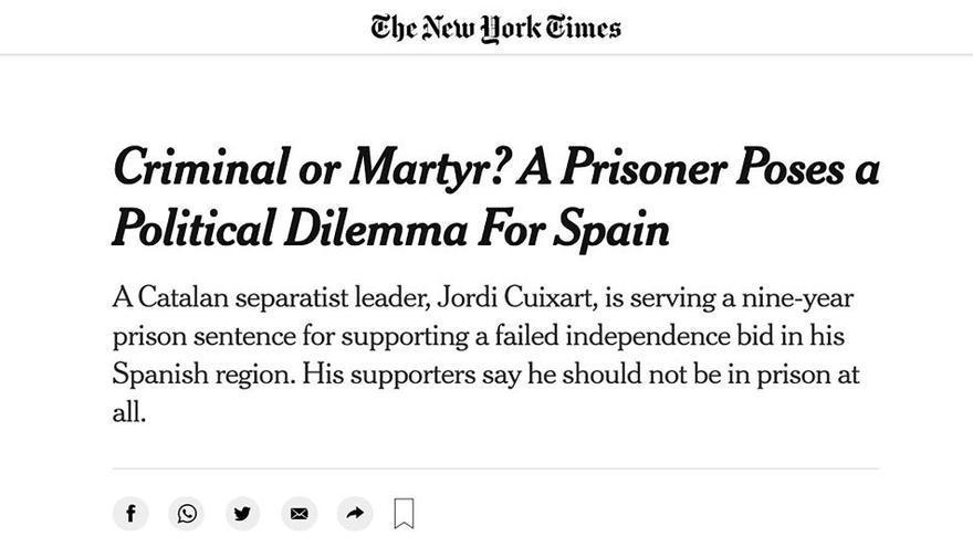 Cuixart denuncia a 'The New York Times' que és un «pres polític al cor d'Europa»