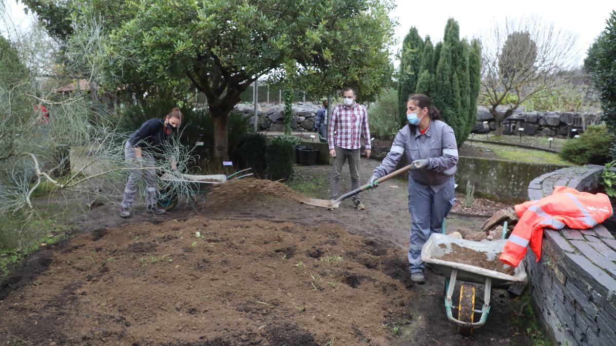 Labores en el Jardín Botánico.