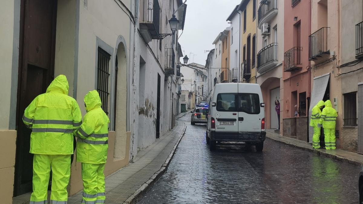 Miembros de las brigadas municipales reparten mascarillas puerta a puerta en Albaida