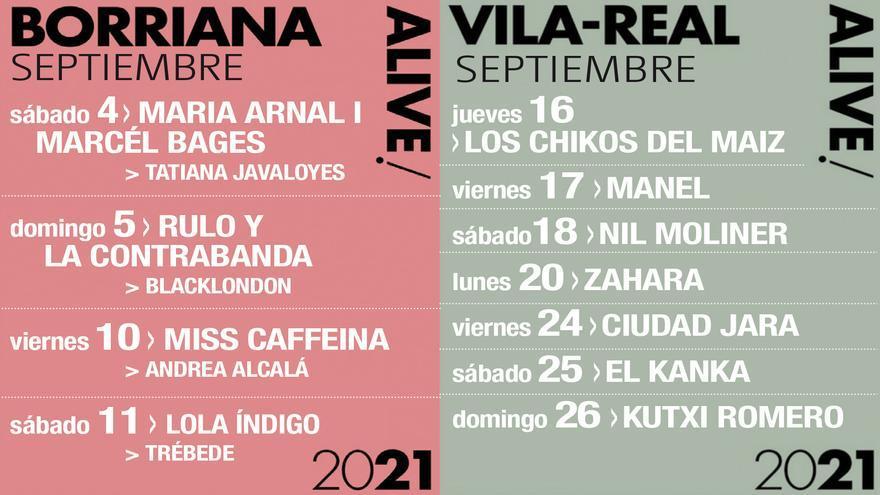 Los conciertos Alive darán ritmo a Burriana y Vila-real en septiembre