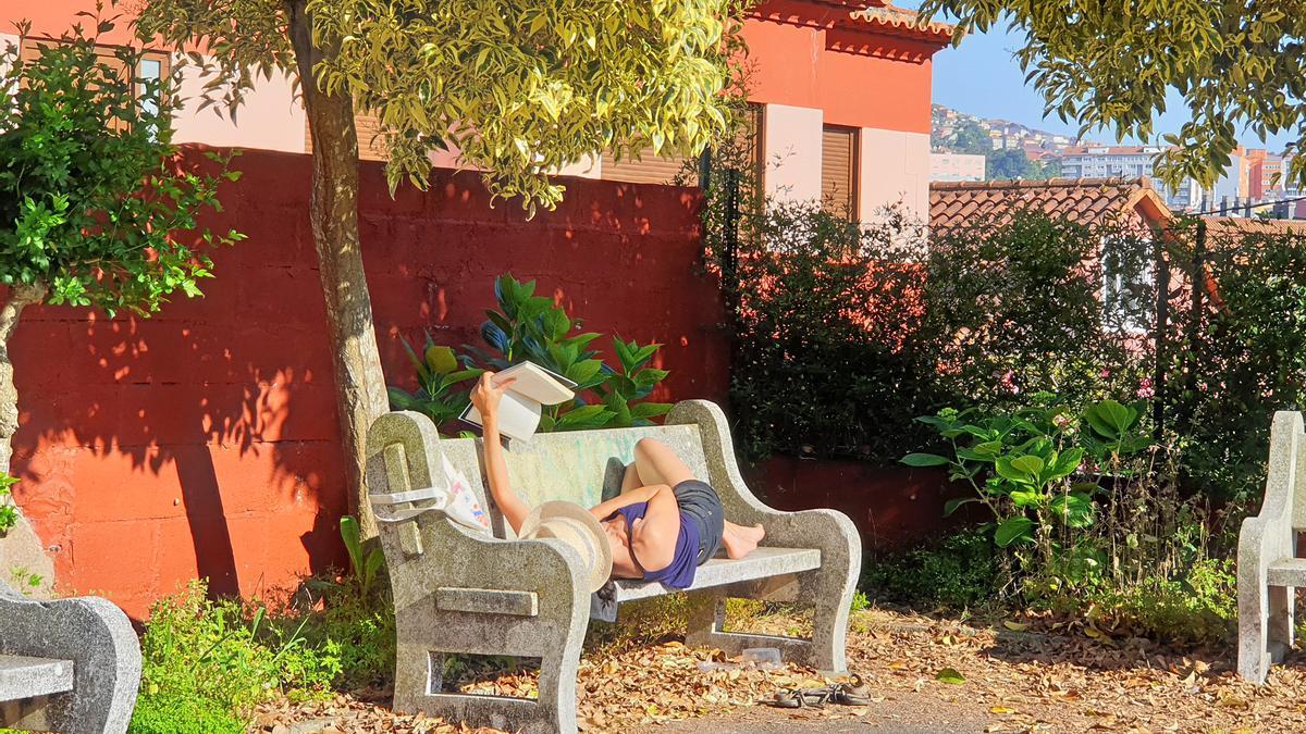 Una vecina de Teis disfruta del buen tiempo leyendo un libro al aire libre