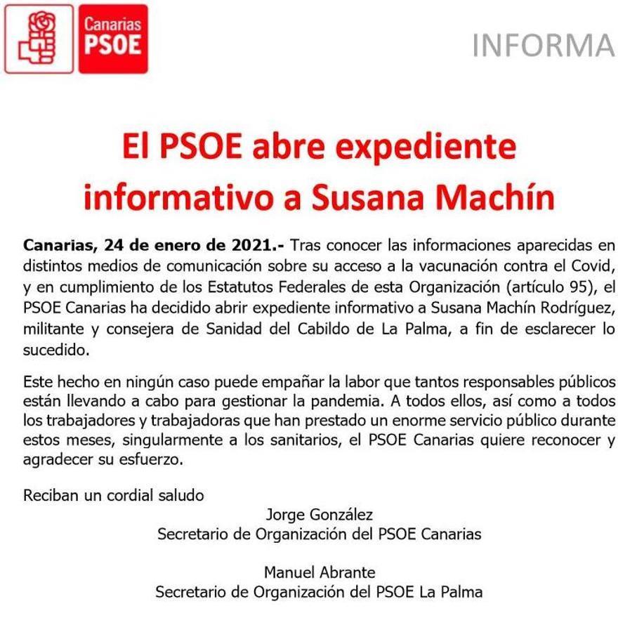 El PSOE abre expediente a Susana Machín por vacunarse sin permiso de Sanidad