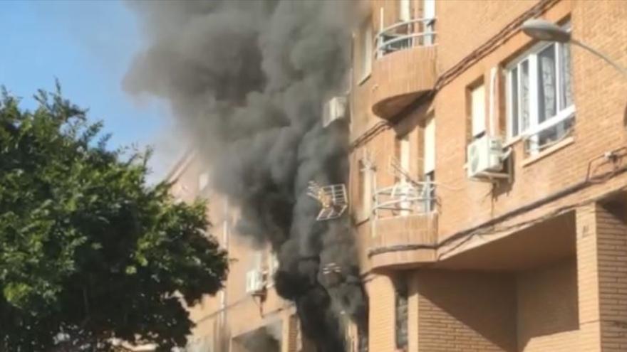 Incendio de una vivienda en el barrio del Vaporet de Alginet