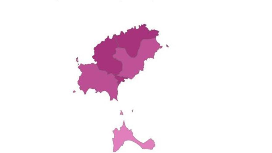 La caída de las incidencias apaga los colores del mapa de Ibiza y Formentera