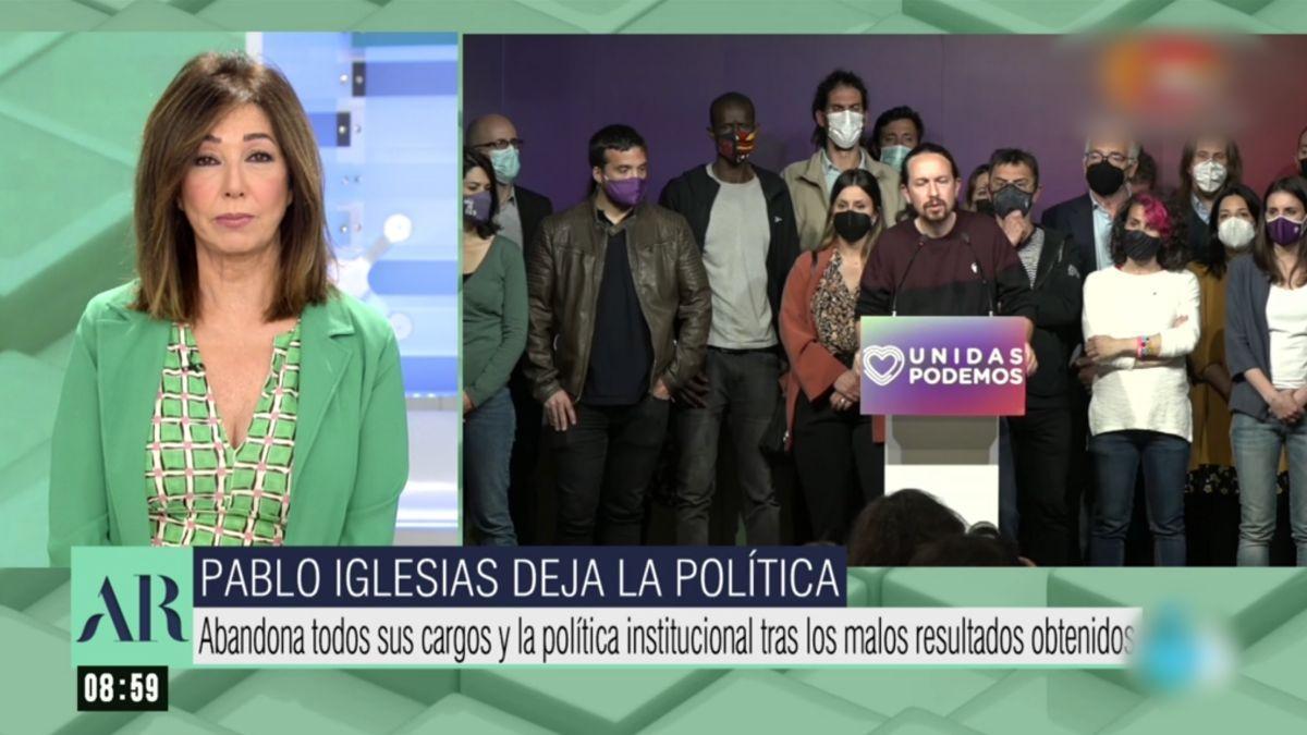 Ana Rosa Quintana hablando del adiós de Pablo Iglesias de la política