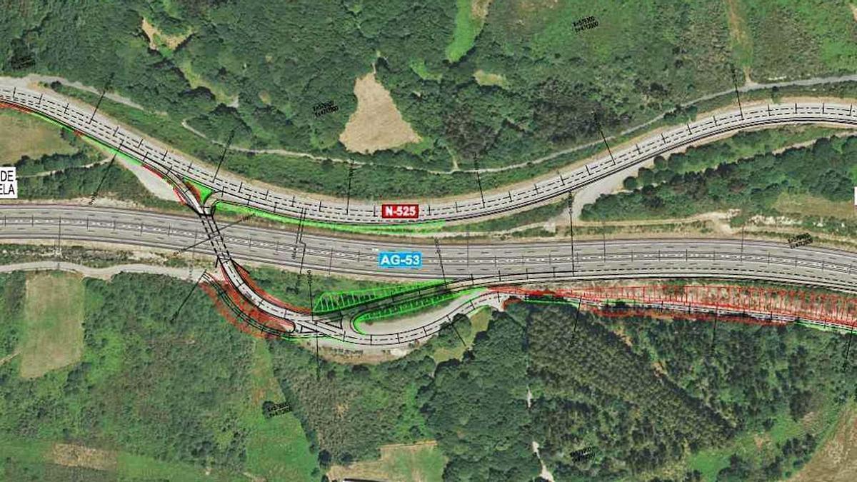 Proyecto de construcción  del nuevo enlace de la autovía  en sentido Ourense.