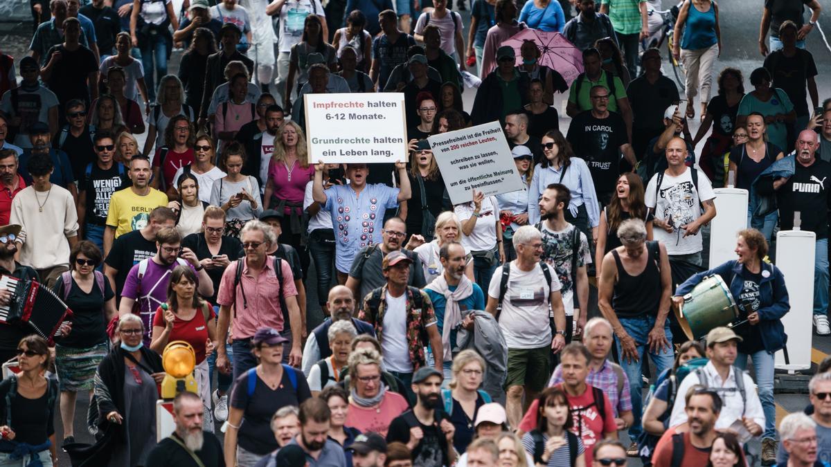 Manifestantes antivacunas en Berlín.