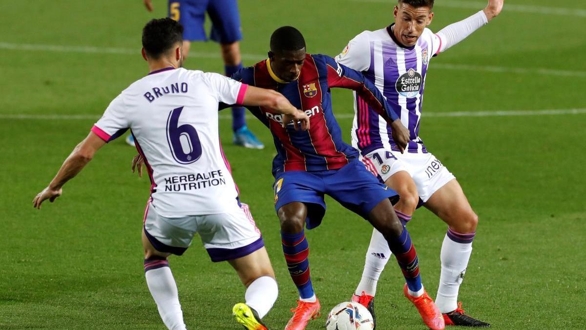 Dembélé en una acció del partit contra el Valladolid.