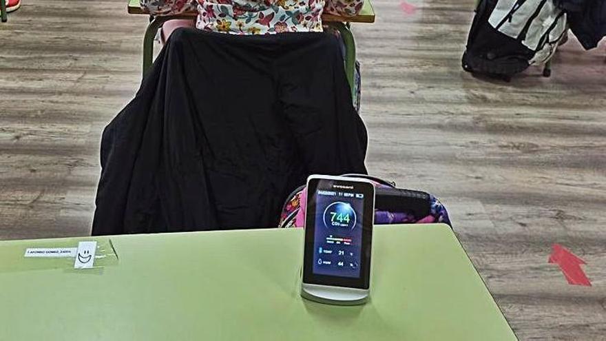 Medidor de CO2 en un aula de la provincia. | Cedida