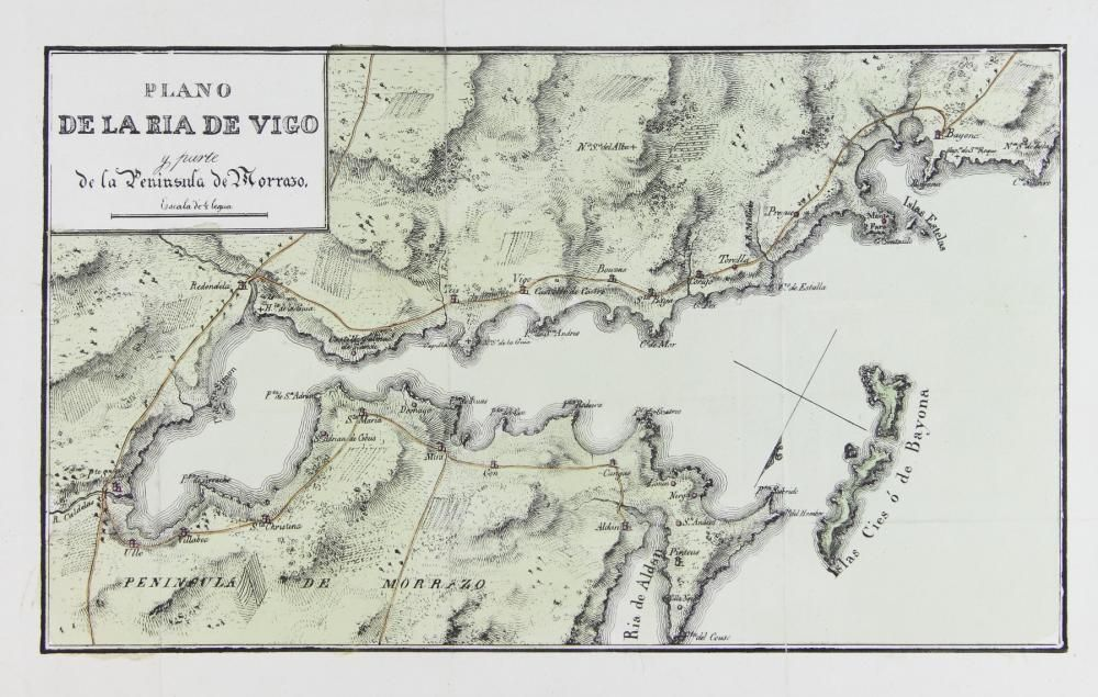 Plano de la ría de Vigo y O Morrazo, de S. de Miñano (1828)