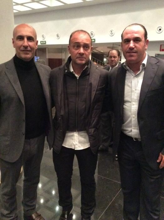 Tomás Moya, director de marketing del Hércules; Vicente Mir, entrenador del Hércules y Dani Barroso, director deportivo del club alicantino
