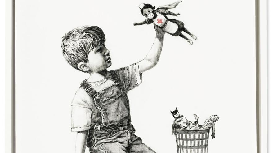 Banksy subasta su obra dedicada a los sanitarios y les cederá lo recaudado